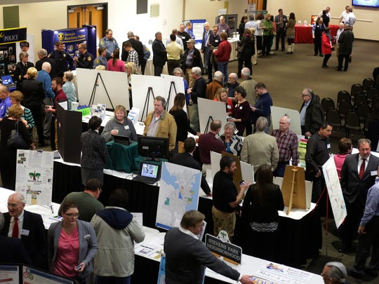 The Oshkosh Convention Center was packed for the State of the City address by Mark Rohloff, Monday. Oshkosh city departments were on hand to show off what is going on within the departments.