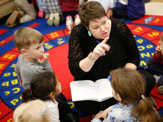 Lauren Reinhard, a graduate student at Sarah Lawrence College, teaches kindergarten students at School 30 in Yonkers the basics of theater.