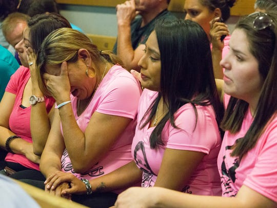 Graciela Hernandez's mother, Eliva Hernandez, weeps in 3rd Judicial District Court on Monday, May 2, 2016, as Corey Franklin is sentenced to life in prison for Garciela's murder. Seated beside the mother is the victim's cousin Vanessa Nuñez, left, and family friends Lorenza Kasero, center, and Jessica Hernandez, right.