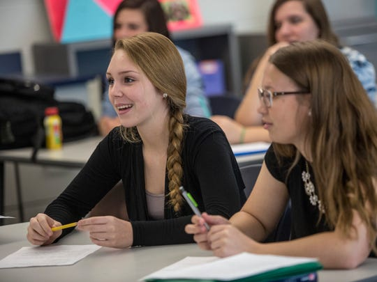 Chloe Vance, 15, participates in a discussing during Christine Shigley's 9th-grade civics class Tuesday, May 10, 2016 at Marysville High School. Shigley was presented the St. Clair County RESA Distinguished Teacher award.