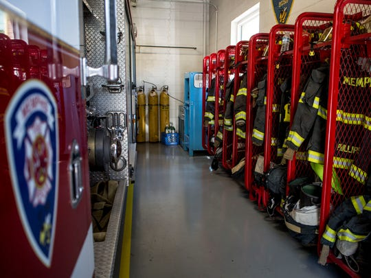 Rows of equipment are stored Tuesday, June 21, 2016 at the Memphis Fire Department. The department is hosting a camp July 18-21 to recruit more paid-on-call firefighters. The department currently has 16 paid-on-call firefighters.