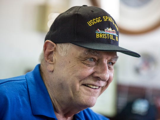 """Ron Kubeck, who served on the USCGC Spar, recalls circumnavigating the Northwest Passage Saturday, July 23, 2016 on the retired USCGC Bramble in Port Huron. Kubeck joked that he was """"unofficially"""" the first man to circumnavigate the passage, as he was standing on the front of the bow."""
