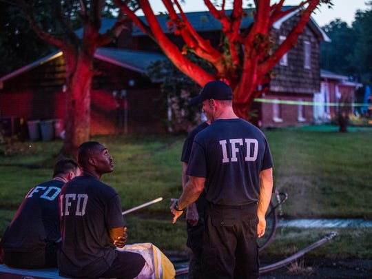 Indianapolis firefighters responded to an east-side residence where a car went into a swimming pool on Aug. 4, 2016.