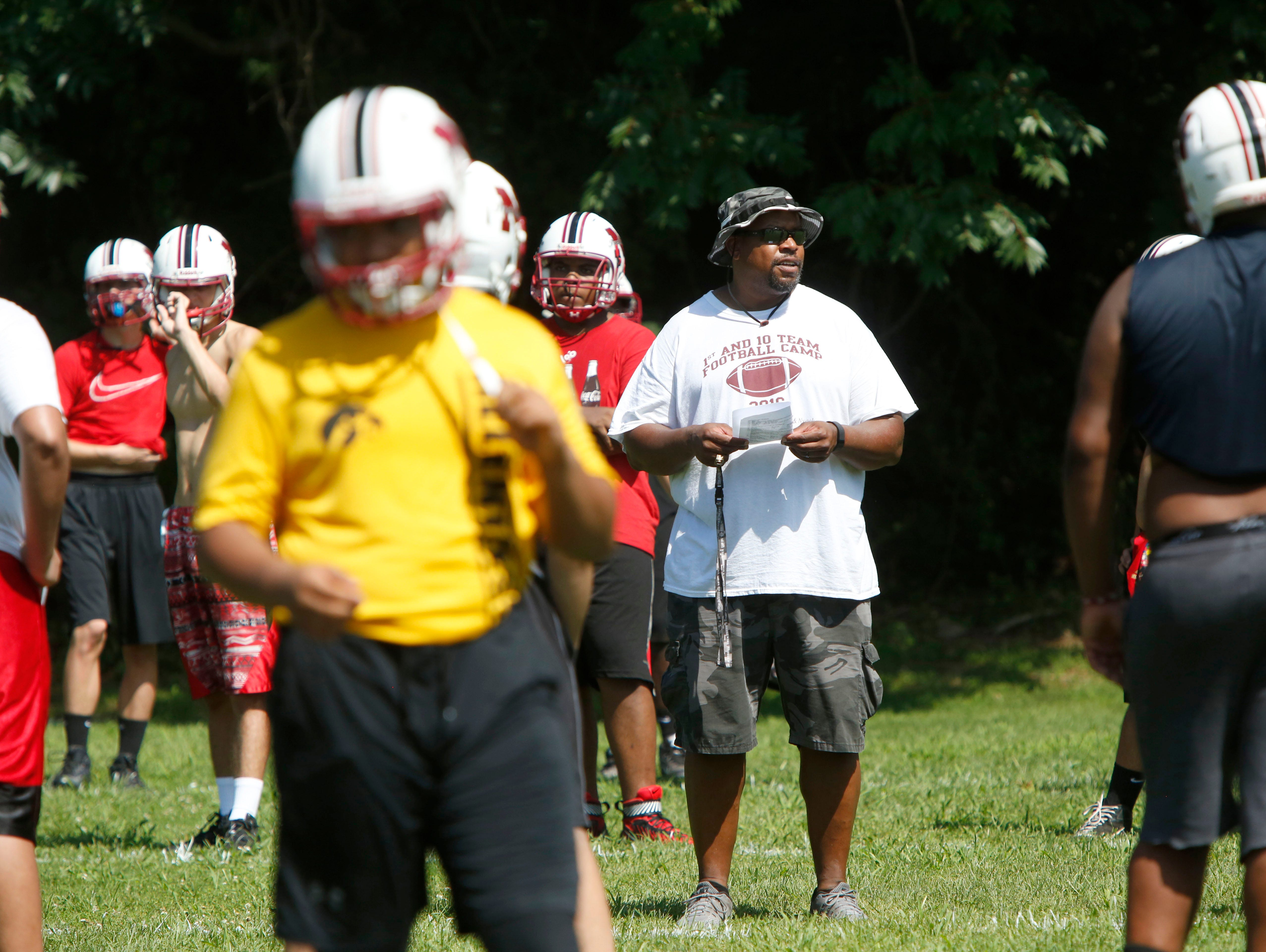 Nyack's assistant coach James Case during the first day of football practice Aug. 15, 2016 at Nyack Middle School.