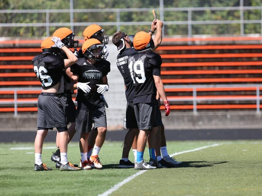 Sprague players practice on Wednesday, Aug. 17, 2016, at the school in South Salem.