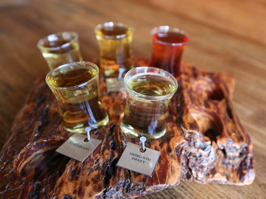 A flight of cider, featuring Bone Dry, Manchurian Crab Bittersweet Blend, Cherrian's Pick, Statehood and Heirloom Sweet, on Tuesday, Sept. 13, 2016, at 1859 Cider Co. in downtown Salem. Read more: http://stjr.nl/2jsTelR
