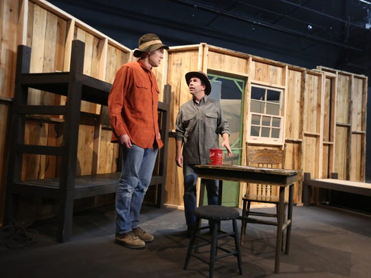 """Michael Collins, left, who plays Lennie, and Jeff Baer, who plays George, rehearse a scene from Pentacle Theatre's upcoming show """"Of Mice and Men"""" on Thursday, Sept. 15, 2016, in Salem."""