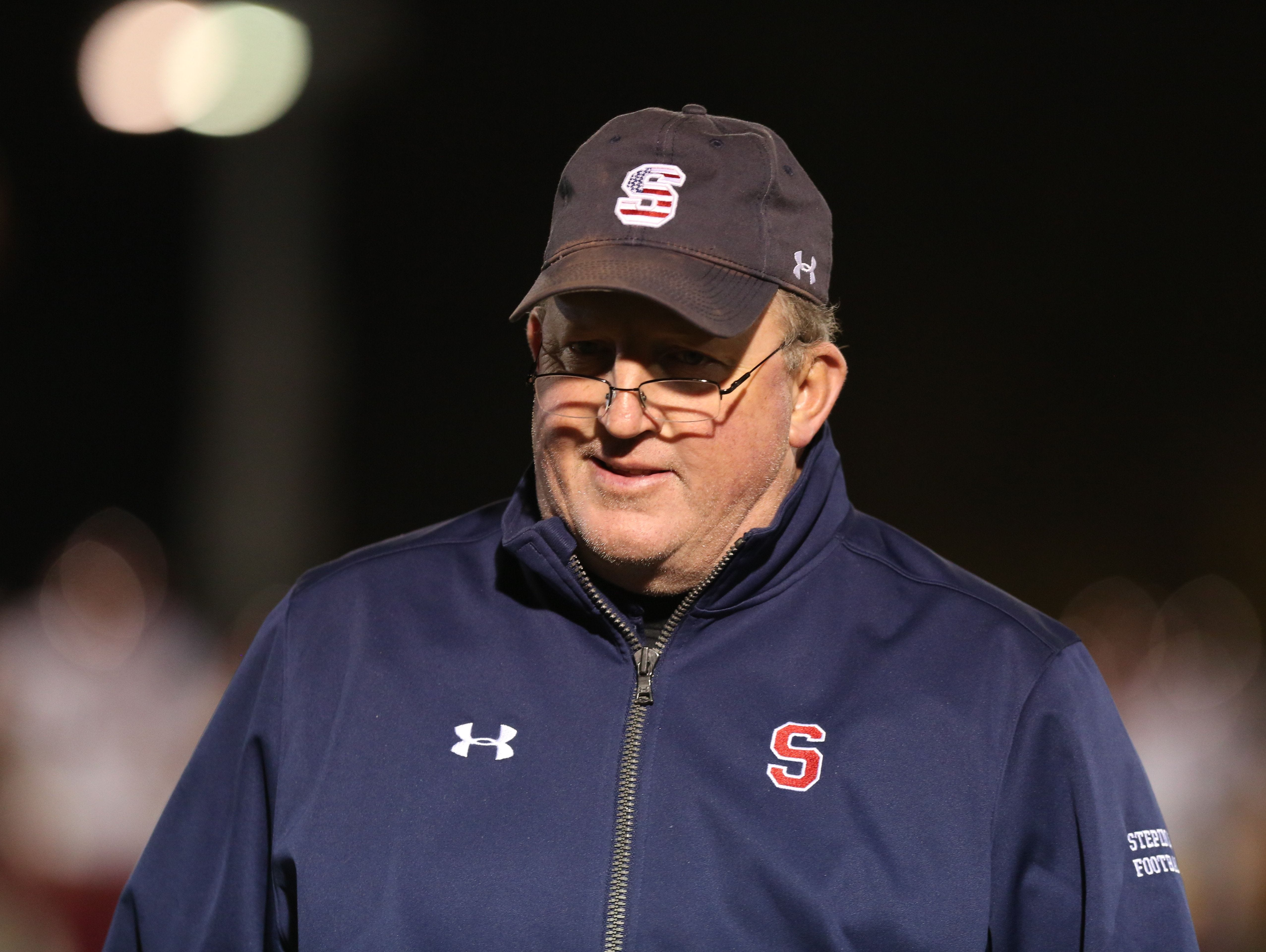 Stepinac football coach Mike O'Donnell is pictured during his team's win over Cardinal Hayes in the 2015 CHSFL 'AAA' championship game at Fordham University.