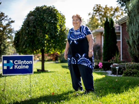 Pat Merkle, who supports presidential candidate Hillary Clinton, pictured at her Port Huron home. Merkle served as a St. Clair County Commissioner for two non-consecutive terms in 1976 and 1980.