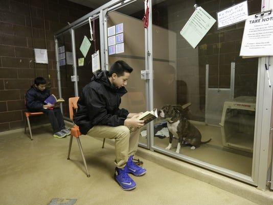 South Park students read to Oshkosh Area Humane Society dogs