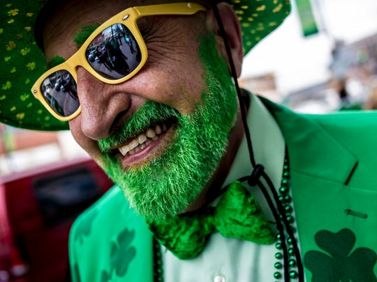 Jimmy Buhalis, of Port Huron, was decked out in green during the Pub Crawl Saturday on Huron Avenue in downtown Port Huron.