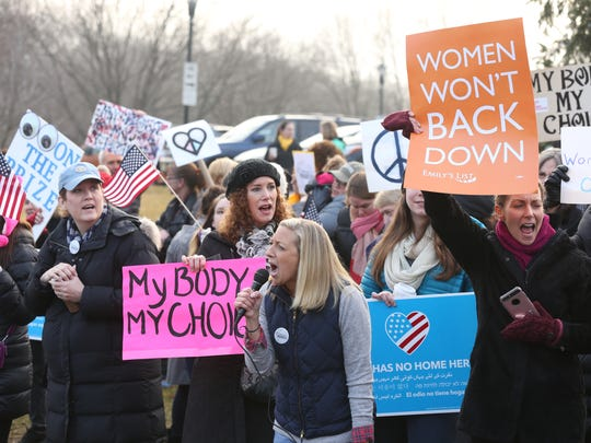 About 250 to 300 people protested in Wyckoff on Saturday.