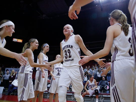 Western Christian's Ashtyn Veerbeek is introduced as a starter during the girls' state basketball tournament 2A quarterfinal between Western Christian and North Linn, on Monday, Feb. 27, 2017, in Wells Fargo Arena. Western Christian won the game 58 to 48.