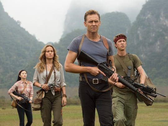 """Jing Tian (from left), Brie Larson, Tom Hiddleston and Thomas Mann star in """"Kong: Skull Island."""""""