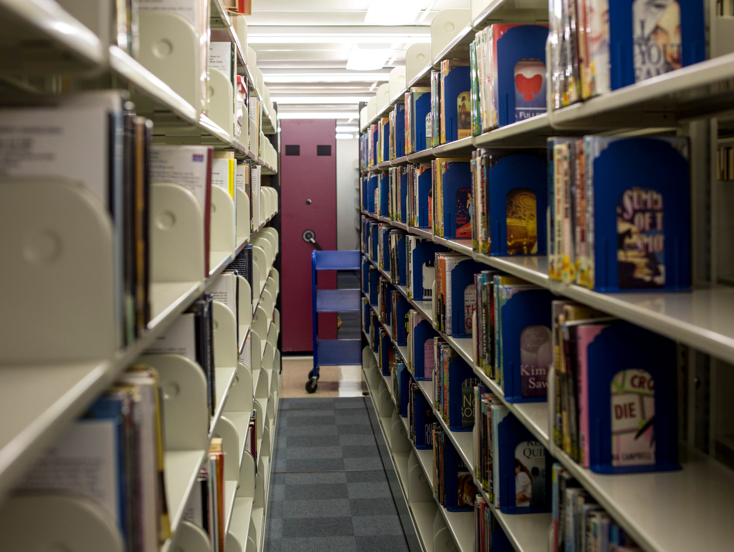 Books line the shelves in the basement at the St. Clair