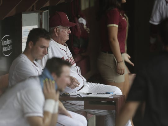 Florida State Head Coach Mike Martin watches his team play Tennessee Tech in the NCAA regionals at Mike Martin stadium Friday night.