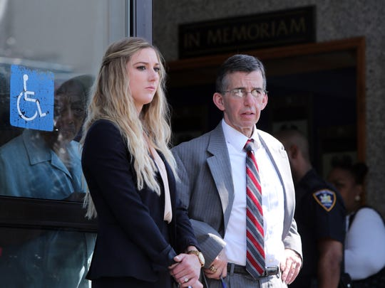 Christine Mertens and David Rich, lawyers of Derran Morris, after Morris appeared in court for the second-degree murder and first-degree assault in the beatings of his girlfriend's 2-year-old twin daughters, July 13, 2017 in Mount Vernon.