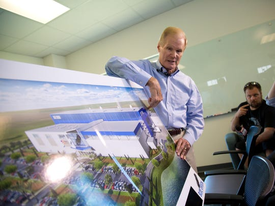 Sen. Bill Nelson speaks with reporters during a conference at Blue Origin's Kennedy Space Center facility on Wednesday. Nelson spoke on the future of commercial space and Brevard County.