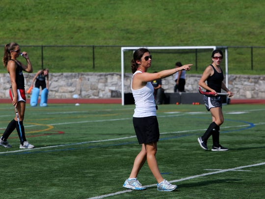 Amanda Grant, the new field hockey coach at White Plains High School, leads practice Aug. 22, 2017 at Highlands Middle School in White Plains. Grant is a former Mamaroneck modified field hockey coach and a member of the Mamaroneck all state team.