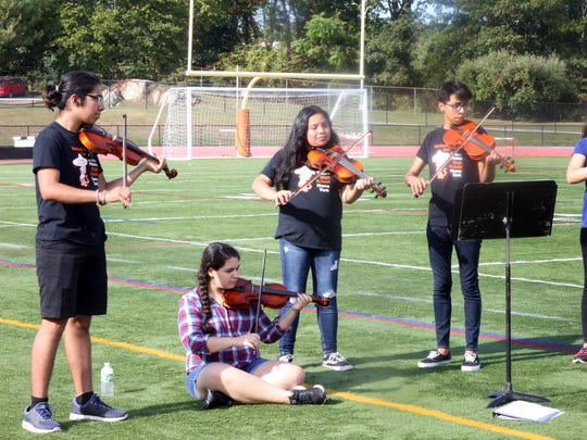White Plains High School mariachi band rehearses at the school on Sept. 26, 2017.