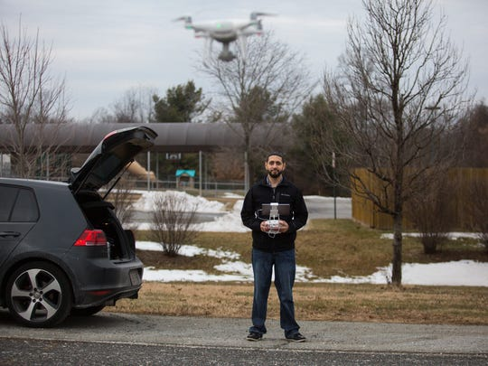 Gabriel Cruz flies a drone near Love of Christ Church in Bear. Cruz is a recent graduate of Drone Workforce Solutions, a Wilmington company that helps educate people in piloting small unmanned aircraft.