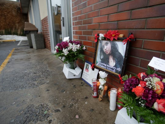 A memorial has been set up for Valeree Schwab, 16, a New Rochelle student at the Dunkin' Donuts in New Rochelle on Jan. 12, 2018, where she was fatally stabbed to death by another student earlier this week. Ricky Flores/lohud