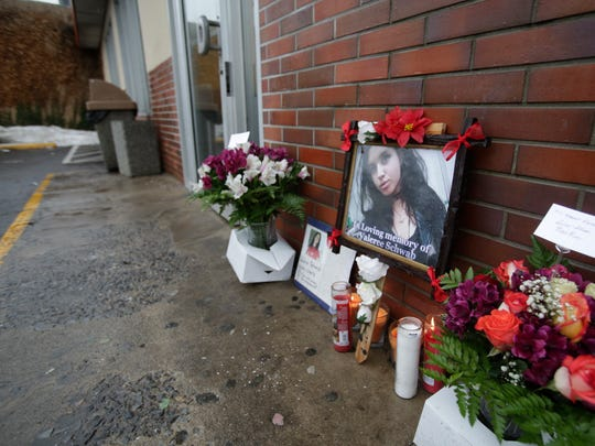 A memorial has been set up for Valeree Schwab, 16, a New Rochelle student at the DunkinÕ Donuts in New Rochelle on Jan. 12, 2018, where she was fatally stabbed to death by another student earlier this week.  Ricky Flores/lohud