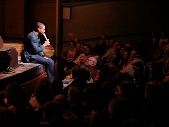 "Leslie Odom Jr. sits at the edge of the Uihlein Hall stage for an intimate performance of ""Joey, Joey, Joey"" Friday, joking that he wouldn't be able to get back on his feet gracefully."