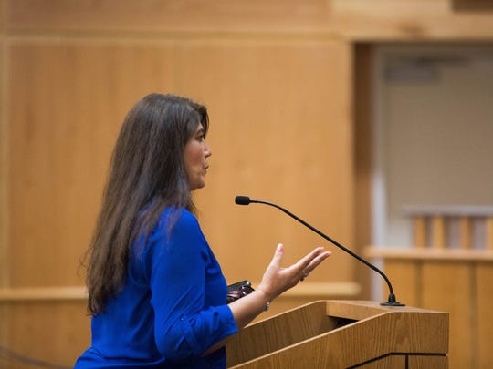 Betty Bishop, the chair of the Doña Ana Republican Party speaking to the Doña Ana County Commission in defense of John Vasquez, commissioner for district 5. Thursday January 25, 2018, After inflammatory messages on Facebook between Vasquez and NM CAFé organizer Johana Bencomo, where she asked a question to Vasquez about politicians endorsing other political candidates in races, Vasquez responded with post that to many viewers seemed as he was insulting Bencomo and her mother.
