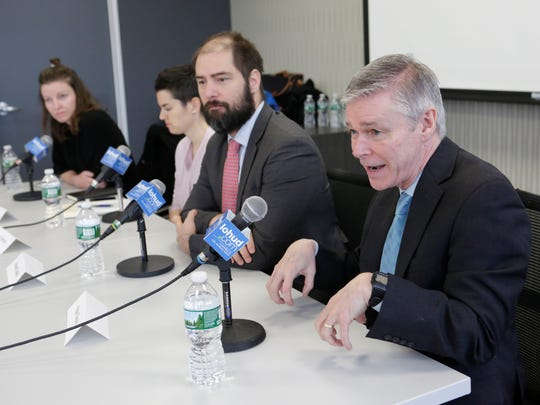 Kate Slevin, Vice President for State Programs, Dani Simons, Vice President of Strategic Communications, Moses Gates, Housing and Community Planning Director and Chris Jones, Executive Vice President and Senior Planner, Regional Plan Association at a lohud Editorial Board meeting on Feb. 1, 2018.