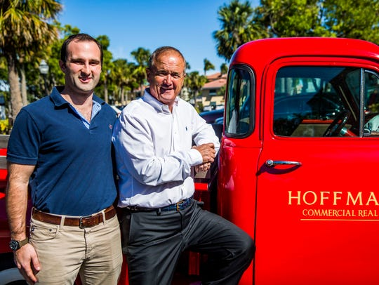 Father and son, David, right, and Greg Hoffmann of Hoffmann Commercial Real Estate, stand outside their offices in downtown Naples on Tuesday, Jan. 30, 2018.
