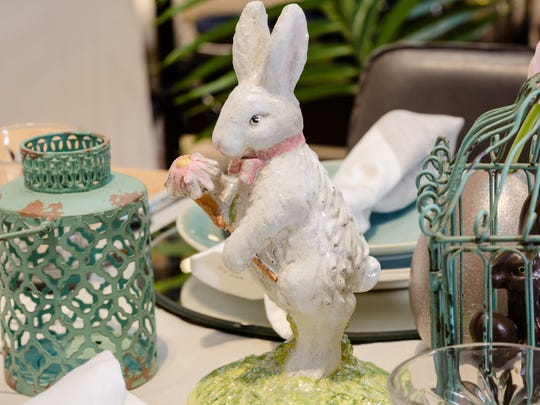 A classic Easter brunch table needs a touch of bunnies.