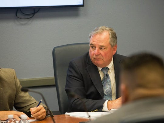 Patrick Peck, director of the South Central Solid Waste Authority, attends the monthly meeting of the SCSWA Board on Monday March 26, 2018.