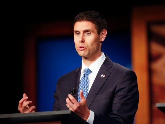 Sen. Nate Boulton takes part in the Iowa Democratic