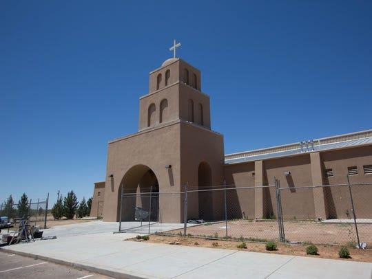The exterior of the Santa Rosa de Lima Church, off