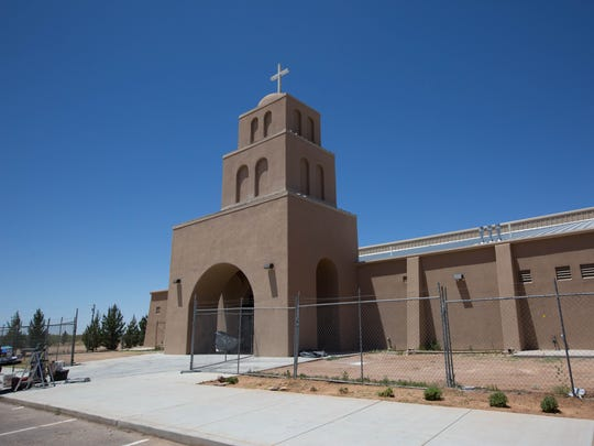The exterior of the Santa Rosa de Lima Church, off Holsome Road, is complete Friday May 18, 2018. A concert to benefit construction costs for the church will be held Thursday on Plaza de Las Cruces.