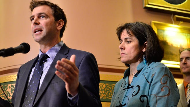 Vermont Senate President Pro Tempore Tim Ashe, D/P-Chittenden, left, and House Speaker Mitzi Johnson, D-South Hero, declare an impasse in budget negotiations with Gov. Phil Scott at a news conference on May 17, 2017.