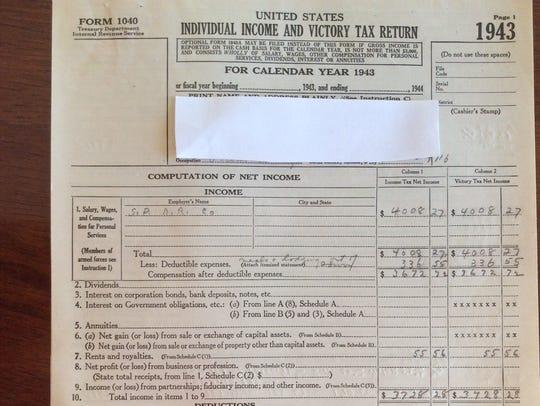 A 1943 income tax return showing that Americans paid