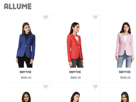 Allume clothing subscription website