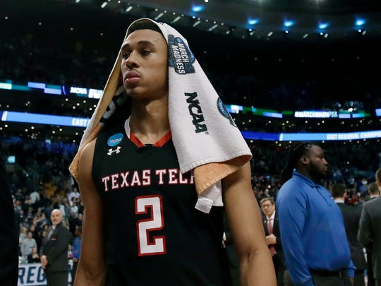Texas Tech's Zhaire Smith leaves the court after an NCAA men's college basketball tournament regional final against Villanova, Sunday, March 25, 2018, in Boston. Villanova won 71-59 to advance to the Final Four. (AP Photo/Charles Krupa)