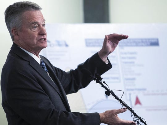 Idaho Gov. Brad Little speaks about the COVID-19 crisis during a September press conference at the Joe R. Williams Building in Boise, Idaho.