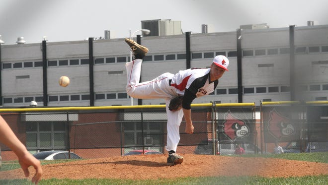 Colerain pitcher Jake Schrand with one of his career-high 15 strikeouts on April 15, 2017 in a 7-2 win over Taylor.