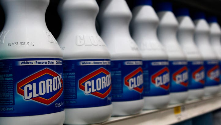 Clorox brand products line the shelf of a supermarket