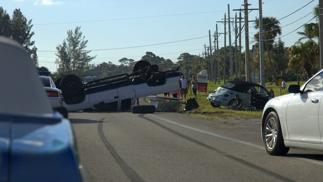 At least two cars were involved in a crash Saturday morning in Grant-Valkaria.