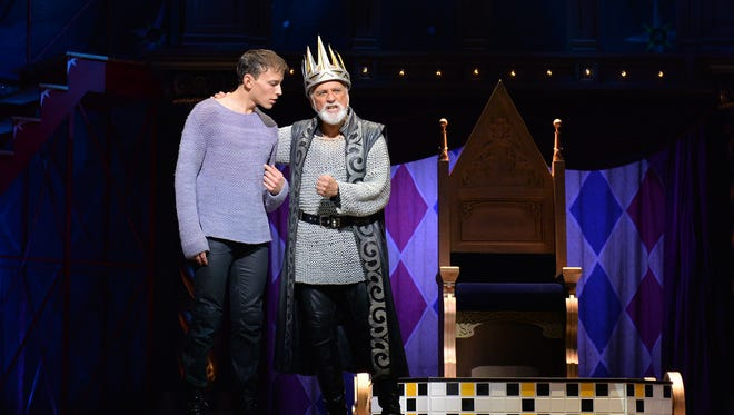 "Brian Flores, left, as Pippin and John Rubinstein as Charlemagne in ""Pippen."""
