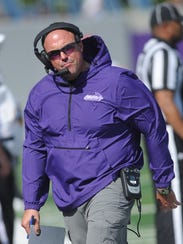 ACU coach Adam Dorrel reacts to a play in the first