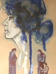 """Portrait in Blue,"" a mixed media submission by Sophie Mills, a Leon tenth-grader, is for sale."