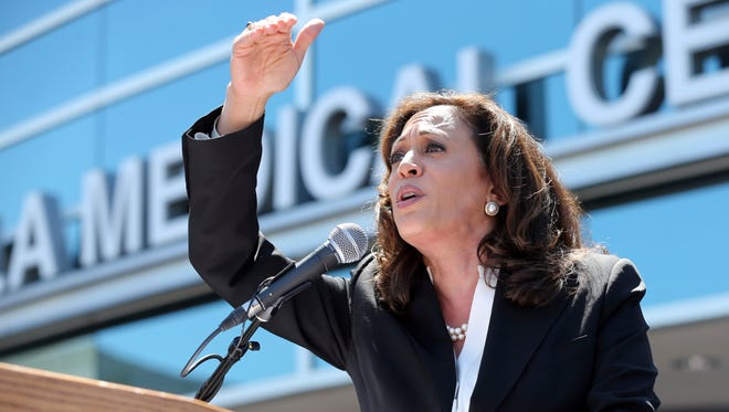 In this 2017 file photo, Sen. Kamala Harris speaks at a rally against the GOP health care bill at Harbor-UCLA Medical Center in Torrance.