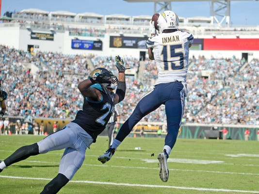 San Diego Chargers wide receiver Dontrelle Inman (15) catches a pass against Jacksonville Jaguars cornerback Dwayne Gratz, left, for a touchdown during the first half of an NFL football game in Jacksonville, Fla., Sunday, Nov. 29, 2015. (AP Photo/Phelan M. Ebenhack)