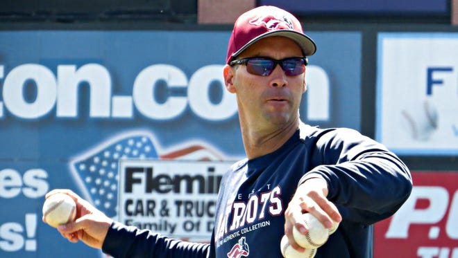 Patriots manager Brett Jodie throws a pitch during batting practice.